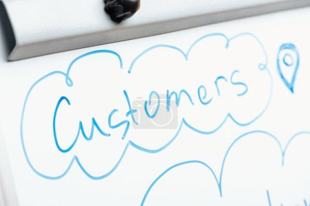 Photo for Close up view of word customers written on white flipchart - Royalty Free Image