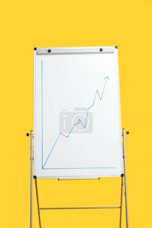 Foto de Rotafolio blanco con gráfico de crecimiento aislado en amarillo - Imagen libre de derechos