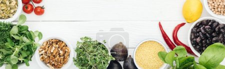 Photo for Top view of ripe vegetables on wooden white table with copy space, panoramic shot - Royalty Free Image