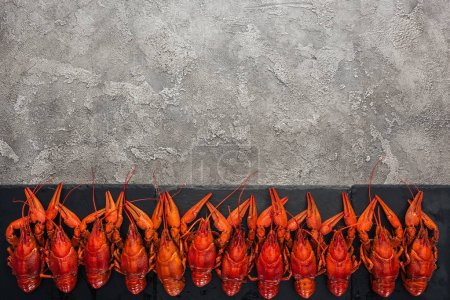 Photo pour Vue de dessus de la plaque noire avec homards rouges sur surface grise texturée - image libre de droit