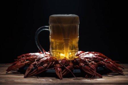 Photo pour Verre de bière sur assiette avec homards rouges à la surface en bois - image libre de droit