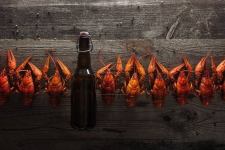 Photo for Top view of red lobsters and glass bottle with beer on wooden surface - Royalty Free Image