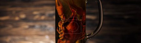Photo for Panoramic shot of red lobsters in glass with beer on wooden surface - Royalty Free Image
