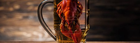 Photo for Panoramic shot of red lobster on beer glass at wooden surface - Royalty Free Image
