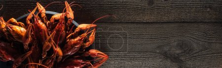 Photo for Panoramic shot of red lobsters on plate at wooden surface - Royalty Free Image