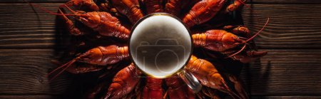 Photo for Panoramic shot of beer glass on plate with red lobsters at wooden surface - Royalty Free Image