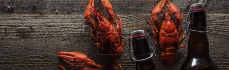Photo for Panoramic shot of red lobsters and glass bottle on wooden surface - Royalty Free Image