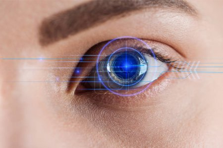 Photo for Close up view of woman eye with data illustration, robotic concept - Royalty Free Image