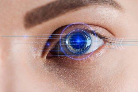 vue rapprochée de l'oeil de la femme avec illustration de données, concept robotique