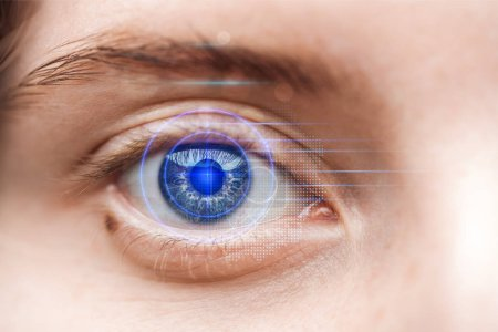 Photo for Close up view of woman grey eye with data illustration, robotic concept - Royalty Free Image