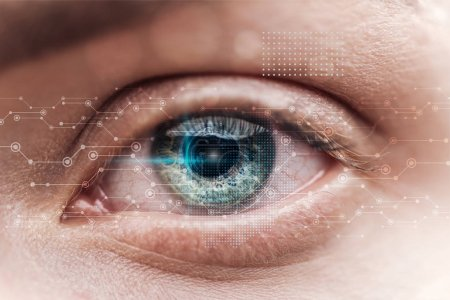Photo for Close up view of human green eye with data illustration, robotic concept - Royalty Free Image