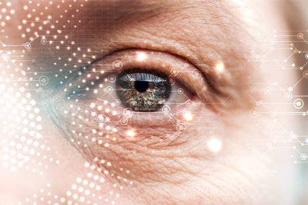 Photo for Close up view of human eye with wrinkles and data illustration, robotic concept - Royalty Free Image