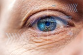 "Постер, картина, фотообои ""close up view of mature human eye with data illustration, robotic concept"""