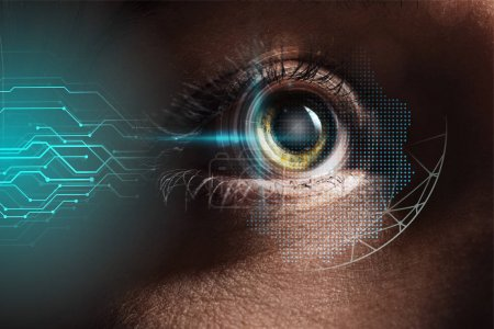 Photo for Close up view of human eye with data illustration, robotic concept - Royalty Free Image