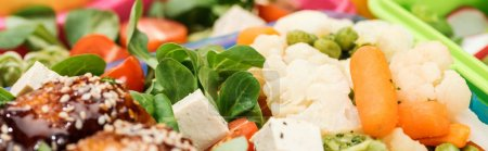 Photo for Panoramic shot of lunch boxes with food, close up view - Royalty Free Image