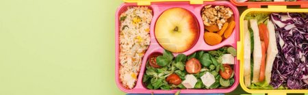 Photo for Panoramic shot of lunch boxes with food - Royalty Free Image