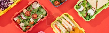 Photo for Panoramic shot of lunch boxes with food on red background - Royalty Free Image