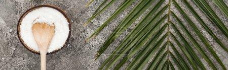 Foto de Vista superior de las virutas de coco con cuchara de madera sobre fondo texturizado gris con hoja de palma, tiro panorámico - Imagen libre de derechos