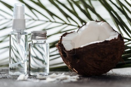selective focus of bottles with coconut water near palm leaf and cracked coconut