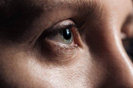 vue rapprochée de la jeune femme oeil gris regardant loin