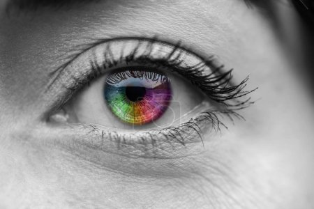 black and white shot of human colorful rainbow eye