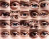 """Постер, картина, фотообои """"коллаж с человеческими красивыми глазами разных цветов"""""""