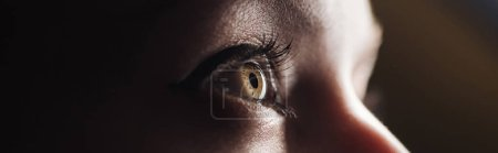 close up view of human colorful eye looking away in darkness, panoramic shot