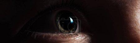 Foto de Vista de cerca del ojo humano mirando hacia otro lado en la oscuridad, disparo panorámico - Imagen libre de derechos
