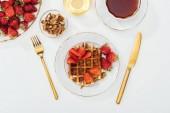 "Постер, картина, фотообои ""top view of served vegetarian breakfast on white"""