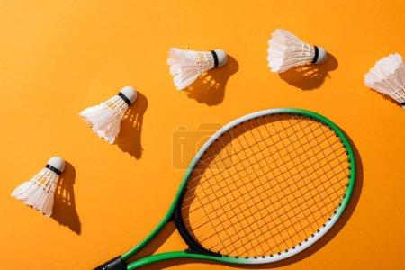 Photo pour Vue de dessus des navettes près de la raquette de badminton sur jaune - image libre de droit