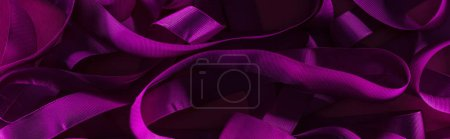 Photo for Panoramic shot of messy purple stips in shadow on purple background - Royalty Free Image