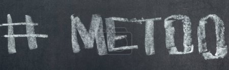 Photo for Panoramic shot of hashtag me too written with chalk on chalkboard - Royalty Free Image