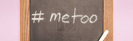 Photo for Panoramic shot of hashtag me too on chalkboard with chalk isolated on pink - Royalty Free Image