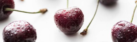 Photo for Panoramic shot of fresh, sweet, red and ripe cherries with droplets - Royalty Free Image