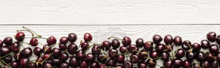 Photo for Panoramic shot of fresh, sweet, red and ripe cherries with droplets on wooden surface - Royalty Free Image