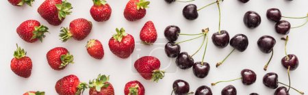 Photo for Panoramic shot of fresh and ripe strawberries and whole cherries - Royalty Free Image