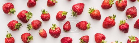 Photo for Panoramic shot of whole and ripe strawberries on white background - Royalty Free Image