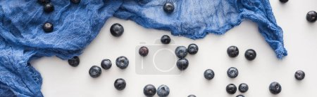 Photo for Panoramic shot of fresh and ripe blueberries with blue cloth - Royalty Free Image