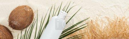 Foto de Vista superior de la hoja de palma, protector solar, cocos y sombrero de paja en la arena, tiro panorámico - Imagen libre de derechos