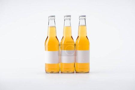 Photo pour Bouteilles de bière avec des étiquettes blanches vierges sur fond blanc - image libre de droit