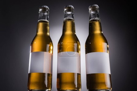 Photo for Low angle view of glass bottles with beer and labels on dark background with back light - Royalty Free Image