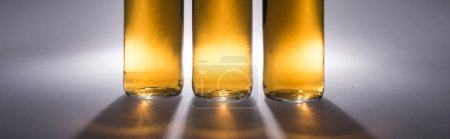 Photo for Close up view of beer bottles with light and shadow on grey background, panoramic shot - Royalty Free Image