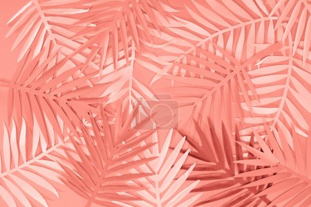 Photo for Top view of coral tropical paper cut palm leaves, minimalistic background - Royalty Free Image