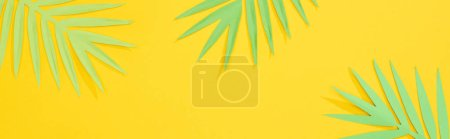 top view of paper cut green tropical palm leaves on yellow bright background with copy space, panoramic shot