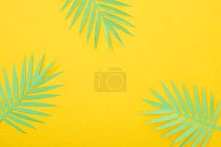 Foto de Vista superior de hojas tropicales verdes cortadas en papel en fondo brillante amarillo con espacio de copia - Imagen libre de derechos