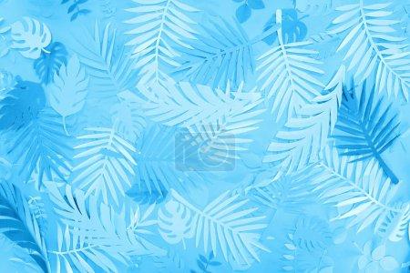 Photo pour Vue supérieure des feuilles exotiques de papier sur le fond minimaliste bleu - image libre de droit