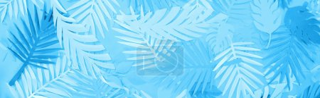 Photo for Top view of paper leaves on blue minimalistic background, panoramic shot - Royalty Free Image