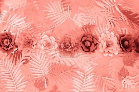 Photo for Flat lay with coral tropical paper cut palm leaves and flowers, minimalistic background - Royalty Free Image