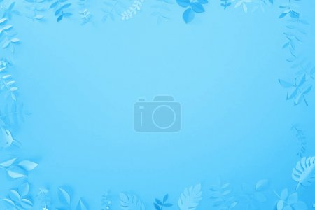 Photo for Frame of paper cut leaves on blue minimalistic background with copy space - Royalty Free Image