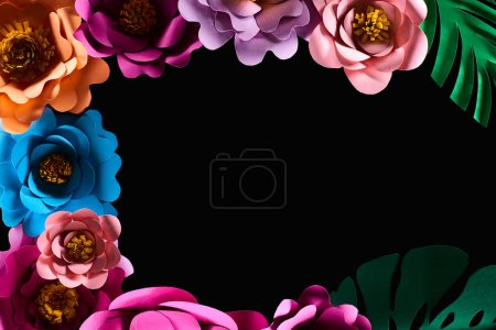 Photo for Top view of paper cut multicolored flowers isolated on black with copy space - Royalty Free Image